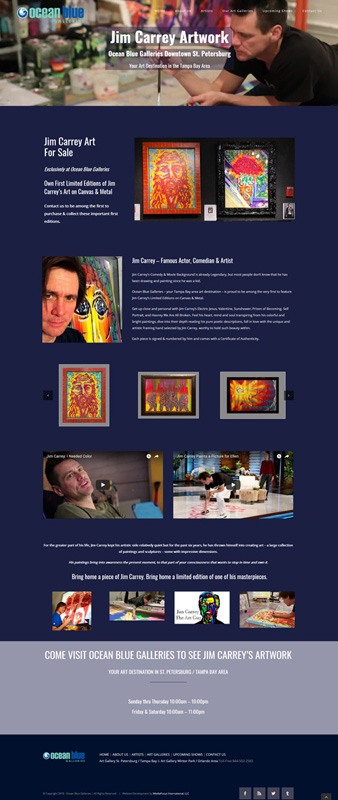 web design landing page Jim Carrey artwork
