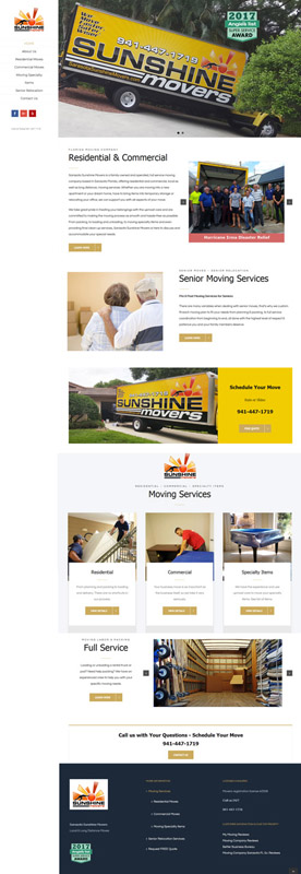web design for Sarasota Sunshine Movers