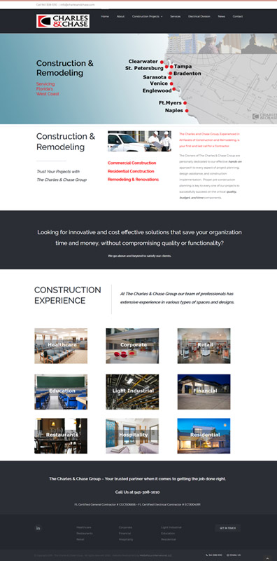 website development for Charles and Chase Construction Company