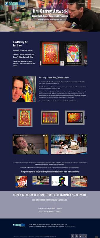 web design landing page Jim Carrey artwork