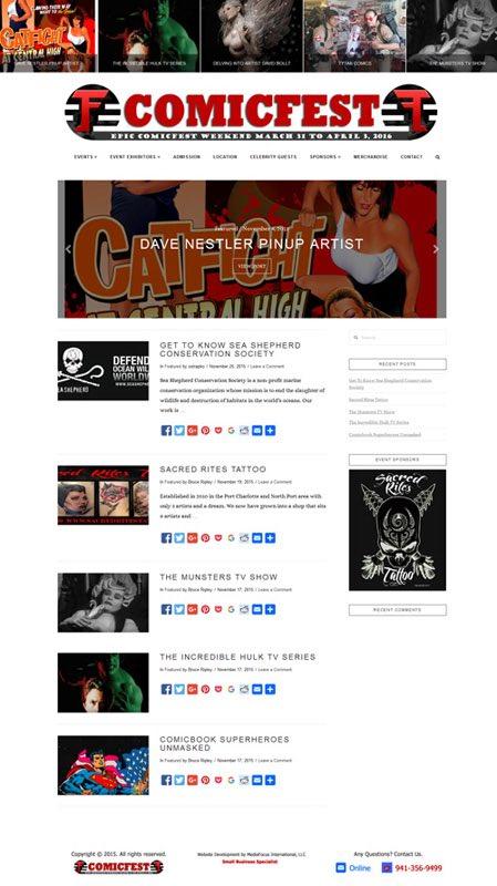 web design for Comicfest