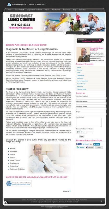 web design for Suncoast Lungcenter