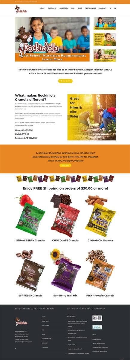 Web Design rockinola.com Website Client Sarasota